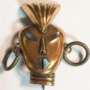 Vintage Copper Tribal Mask Brooch
